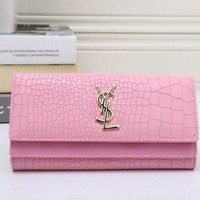 YSL Handbag Women Leather Buckle Wallet Purse Pink