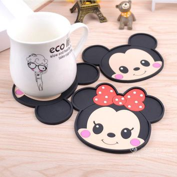 DCCKL72 Mickey Mouse silicone dining table placemats coaster coffee drinks kitchen accessories cup bar mug placemats coaster mats  pads