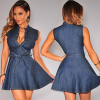 Blue Denim Buttoned Ruched Neck Bow-Tie Waist Mini Dress