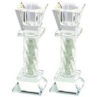 Elegant Crystal Candlesticks 11cm- with Decorative Stones
