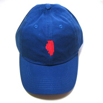 Illinois Hat - Classic Dad Hat - Royal and Red - All States Available