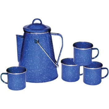 STANSPORT Enamel 8-Cup Coffee Pot with Percolator & Four 12-Ounce Mugs 11230 112