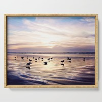 dusk on the beach Serving Tray by sylviacookphotography