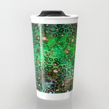 RAINBOW DOTTY OCEAN 3 Green Lime Ombre Space Galaxy Colorful Polka Dot Bubbles Abstract Painting Art Travel Mug by EbiEmporium