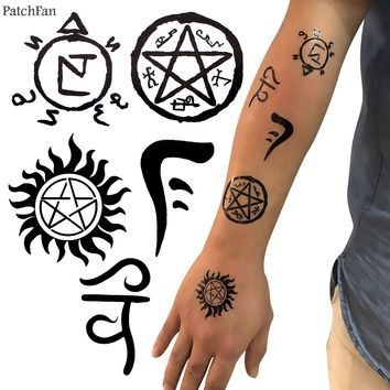 2pcs/set Patchfan Supernatural Temporary Body Art Tattoo Sticker for Women Men cosplay Makeup Shoulder Arm dropshipping A1166