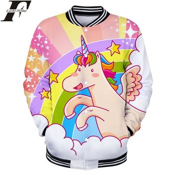 Trendy LUCKYFRIDAYF Unicorn 3D Baseball Jacket bomber Anime Style 2018 Man/Women winter Jacket coat Casual Clothes Plus Size 4XL AT_94_13