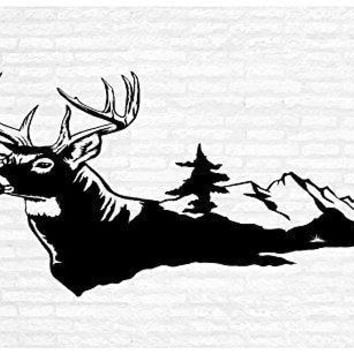 Deer Buck Man Cave Animal Rustic Cabin Lodge Mountains Hunting Vinyl Wall Art Sticker Decal Graphic Home Decor