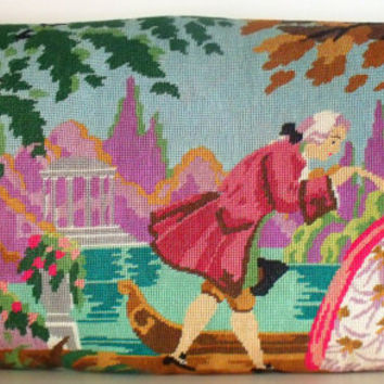 French Silk Vintage Tapestry Needlepoint Chateau Antoinette Statement Pillow Cushion Coussin