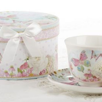 Gift Boxed Tea Cup (Teacup) & Saucer - Butterfly