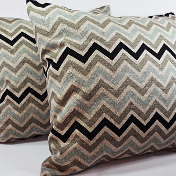 Pair of Chevron Decorative Throw Pillow Covers Black and Brown - 16 x 16 inches Cushion Cover Accent Pillow
