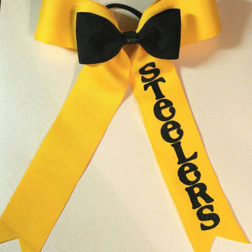 Steelers Football Cheer Bow - Steelers - Football - Football Accessories - Steelers Accessories -  Personalized - Gift for Her - NFL
