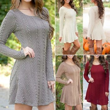 Boho Bohemian Tunic Sweater Mini Dress
