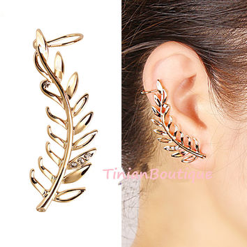 Pendientes New Fashion Rhinestone Clip Earrings For Women Smooth Surface Gold Leaf Earring Ear Cuff Brincos Free Shipping