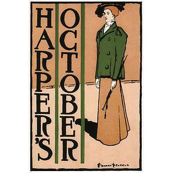HARPER'S MAG october 1895 vintage poster EDWARD PENFIELD USA 24X36 RARE HOT
