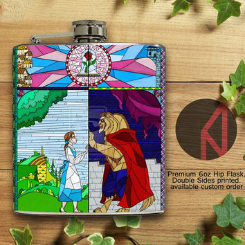 Beauty and The BEast Stained Glass 6oz and 8oz Hip Flask