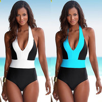 2016 Sexy Women One Piece Swimsuit Swimwear Bathing Monokini Push Up Padded Bikinis LZ