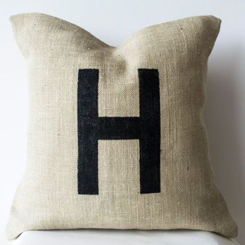 Burlap Pillow -Monogram Pillows -Customized Hand Painted Letter Pillows -Ivory Throw Pillow -Personalized Dorm Cushion -Gift Pillows -16x16