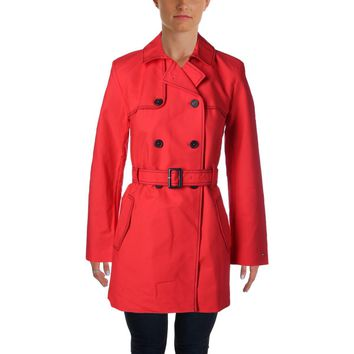 Tommy Hilfiger Womens Contrast Stitch Single Vent Trench Coat