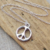 Peace Sign Necklace, Peace Sign Symbol Charm Necklace, Boho Jewelry, Layering Necklace, Bohemian Necklace, Hippie, Peace Sign Jewelry, Gift