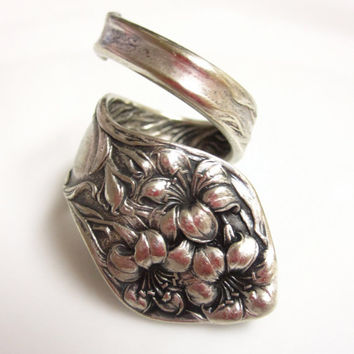 Stratford Silver Co Silver Plated Flower Spoon Ring Size 7