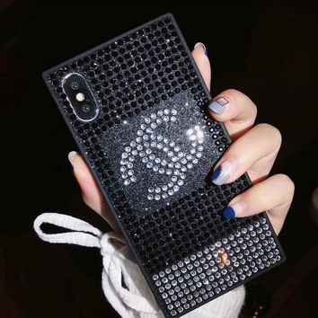 LV Chanel Supreme New Fashion Water Drill Mobile Phone Case All-Inclusive Iphone X Luxury Case Glitter Protective Diamond Case Chanel Black I12215-1