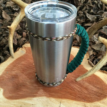 Dark Green/Camo Paracord Yeti 20 oz. Rambler Handle Grip