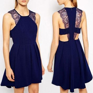 Navy Blue Patchwork Lace Round Neck Backless Cute Homecoming Mini Dress