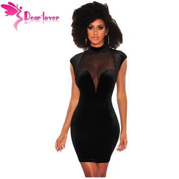 Dear Lover bodycon sexy club dresses 2018 Black Mesh Bustier Backless Velvet Mock Turtleneck Mini Dress vestidos verano LC220302