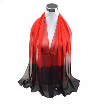 Long Chiffon Silk scarves 1PC 50*160cm New Trend Design Ombre Scarf  Woman Spring Muffler Stole
