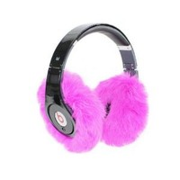 EarMuffies - fur earmuff covers for headphones - SMALL Fuchsia (Fits Beats SoloHD/Wireless/Mixr and other popular headphones)