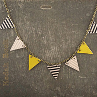 Garland Earring / Stripes and Chartreuse / Triangles