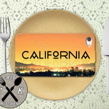 California Sky Sunset Cursive Love Writing Sunset Tumblr Rubber Tough Case iPhone 4/4s and iPhone 5 and 5s and 5c and iPhone 6 and 6 Plus +