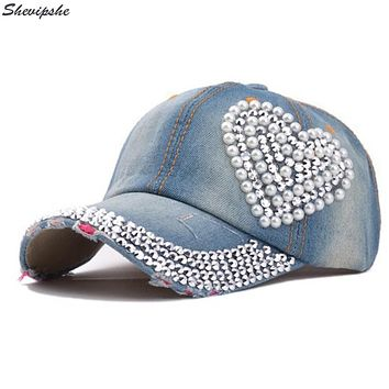 Womens Jean Cap Baseball Cap Bone Trucker Hat Ladies Rhinestone Diamond Snapback Dad Hat Denim Hip Hop Female Caps 2017 Summer
