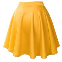 MBJ Womens Basic Versatile Stretchy Flared Skater Skirt S YELLOW
