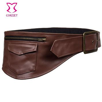 Brown Leather Adjustable Holster Belt Hip Pouch