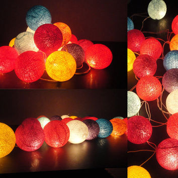 20 Mixed Mix Tone Handmade Cotton Balls Fairy String Lights Home Decor
