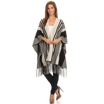 Womens Striped Fashion Poncho