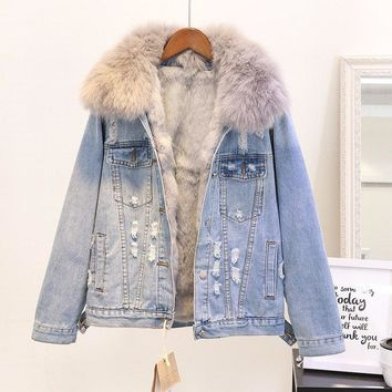 Winter Warm Coat Women New Natural Fox Fur Collar + Natural Rabbit Hair Liner Denim Jacket Female Warm Jacket Ladies Short Coat