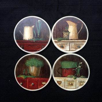 Garden & Plant Coasters - Ceramic - Set of 4 with Storage Tray - No Slip Cork Backing - Vintage 1980's - * One Coaster Has Minor Damage *