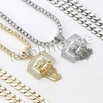 """Iced Out Micro Pave Basketball Hoop Pendant w/ 18"""" Tennis / 30"""" Cuban Chain X1"""