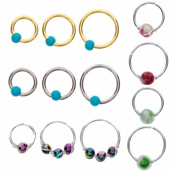 1Pc Fashion Hoops Helix Piercing Ear Cartilage Surgical Steel Turquoises Septum Clickers Nose Ring Lip Tragus Piercing #257909