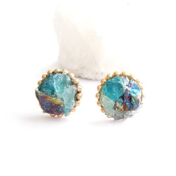 Peacock Ore and Blue Apatite Stud Earrings -Raw Stone- Spring Wear