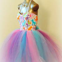 Adult tutu,Unicorn tutu dress, adult tutu dress,  prom dress, fantasy tutu dress, my little pony dress, cos play dress, edc rave raver dress