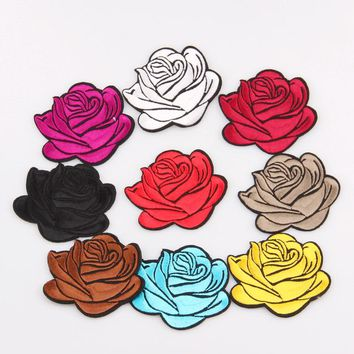 1 pcs Colorful Mixed Rose Flower Patches iron on or sew for clothes embroidered appliques DIY accessory bag badge