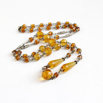 Sale- Vintage Amber Glass Beaded Art Deco Necklace- 1920s 1930s Single Long Strand Silver Tone Flapper Crystals Costume Jewelry