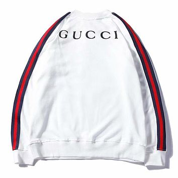 GUCCI Trending Women Men Casual Stylish Letter Print Long Sleeve Round Collar Sweatshirt Top White I-GQHY-DLSX