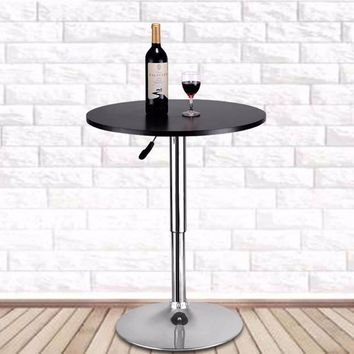 Goplus Modern Round Bar Table Adjustable Bistro Pub Counter Wood Top Swivel Indoor Home Table Portable Furniture HW52760