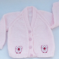 Hand knitted pale pink baby cardigan 3 to 6 months