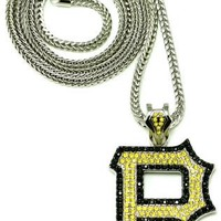Wiz Khalifa New Piece P Iced Out Pendant With Silver Franco Chain Yel/Lrg Blk