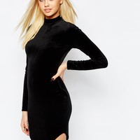 Missguided Velvet Curve Hem Bodycon Dress